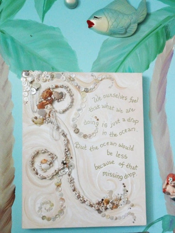 shabby Seashell Art Original with Quote Vintage Jewelry Mix Media