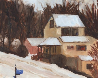 "Winter landscape, ""Uphill, Snow Day"", original framed oil painting, 8 x 10"