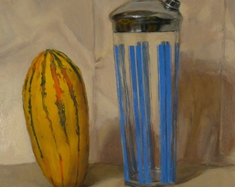 "Original oil still life painting, ""Settling"" approx. 11x16"