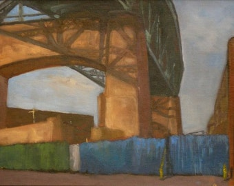 "Industrial new york cityscape, ""Quitting Time"", original framed oil painting, 11 x 14"