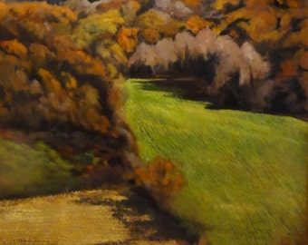 Cultivation, Autumn Berkshires Landscape  on Linen, original oil painting in custom frame, 24x28