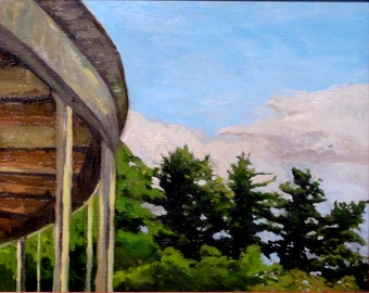Tanglewood Shed & tree line, Original framed oil painting 8x10