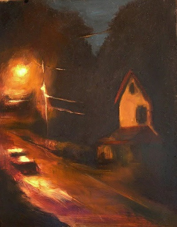 "Nocturne cityscape painting,  framed original oil painting ""Nightlight"", 16x20"