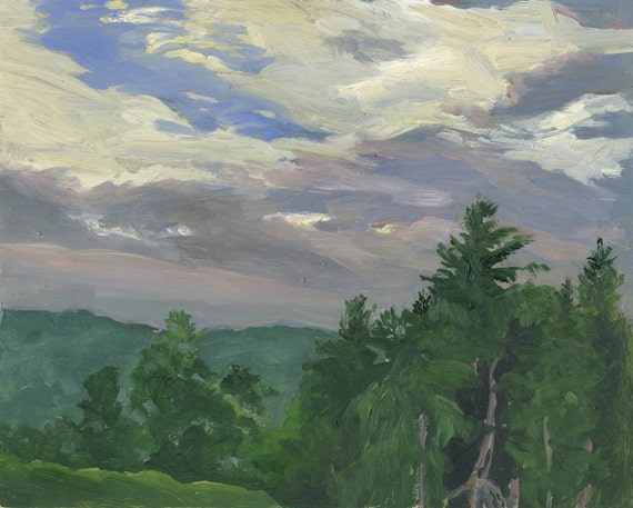 Scenic Landscape -Summer Sky, Late Afternoon- original oil berkshires landscape painting 8x10