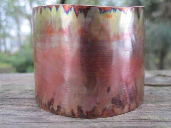 Fired and hammered copper cuff bracelet