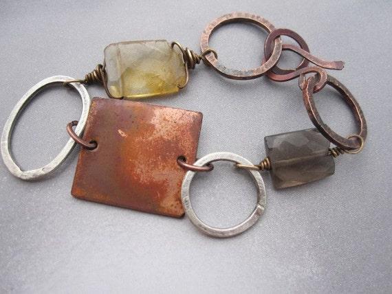 Mixed metal copper silver lemon and smokey quartz bracelet