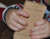 Red Oak Wooden Toy Phone - iPhone Shape