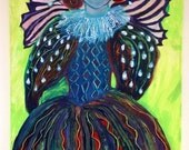 Original Large Fauvist Painting  Lime Green Queen Elizabeth