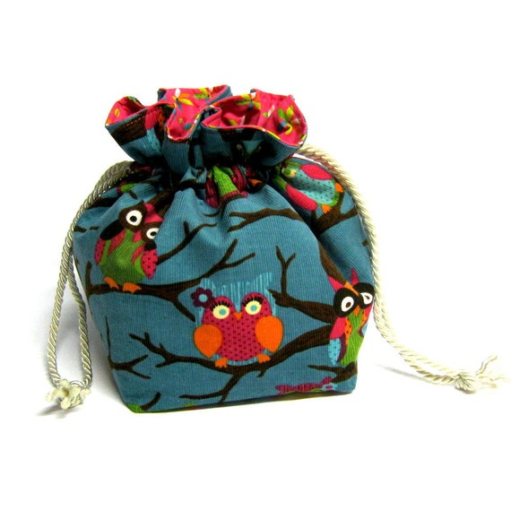 owl corduroy square drawstring purse pouch bag blue background brown branches
