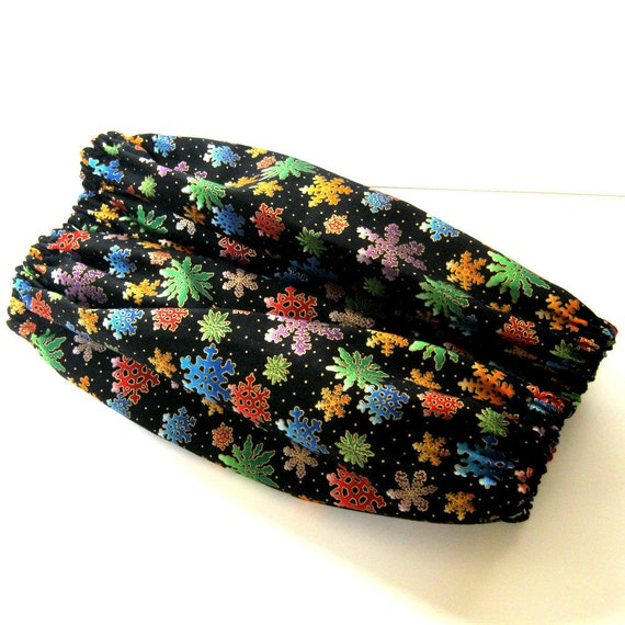 large Dog Snood black with gold snow and colorful snowflake fabric standard poodle size L