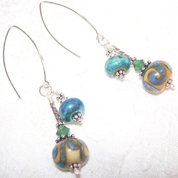 Earrings Lampwork Glass  sterling silver and swarovski crystals Handmade in Australia SRA Christmas gift idea
