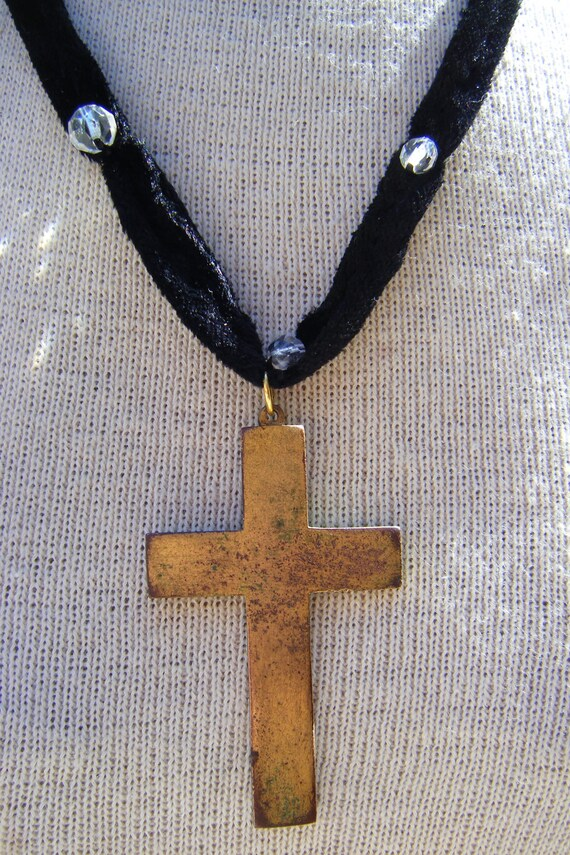 Gothic large cross necklace antique silk velvet crystal beaded