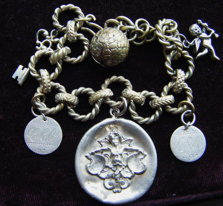 Antique Repousse Charm Bracelet Book Chain Sterling Silver