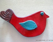 Lovey Dovey Red Ceramic Bird Wall Decoration
