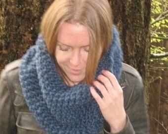 Cozy Cowl Wool Knit Neckwarmer in 'denim'