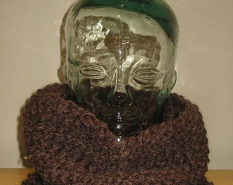Cozy Cowl knit neck warmer in 'wood' brown