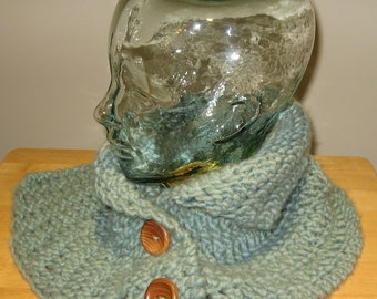 Hand Knit soft Capelet Neck Warmer wood buttons- 'low tide'