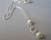 Silver pearl necklace - bridal jewelry - bridesmaid gift