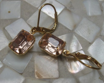 Pink vintage glass gold dangle earrings
