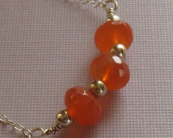 Silver carnelian necklace, 18 inches, wedding, bridesmaid gift, wedding party, orange red