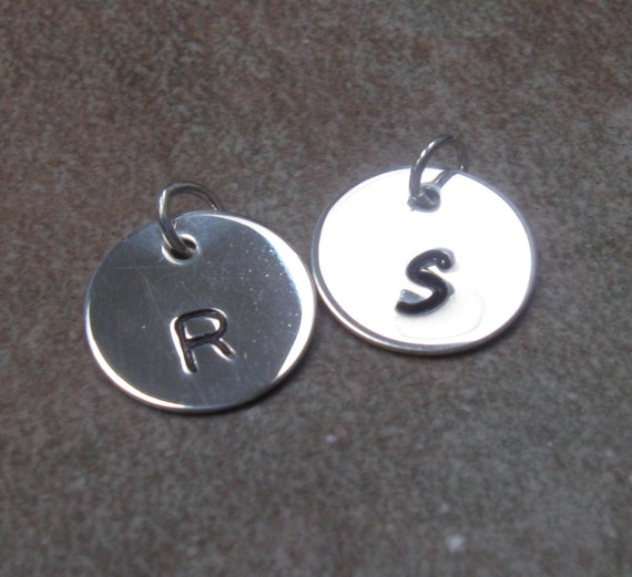 Silver stamped charm, initial charm, monogrammed, personalized charm, two additional charms