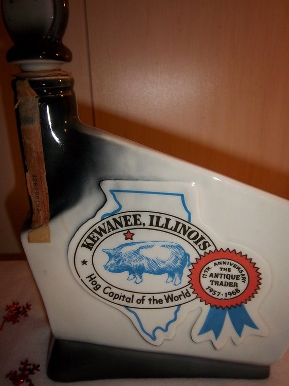 Vintage 1968 Kewanee Illinois Hog Capital of the World Jim Beam Decanter