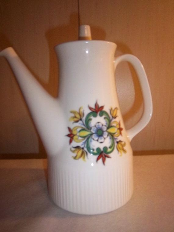 Big Sale--Vintage Figgjo Flint Tea/ Coffee Pot Valle Silk Screened