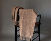 SALE Woven Merino Throw, Pale Brown Twill
