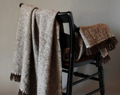 Woven Merino Blanket in White and Chocolate Brown Wool - RiverFarmRI