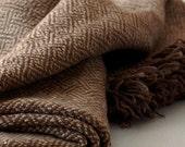 Woven Merino Blanket in Rich Browns