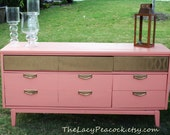 Retro Coral and Gold Dresser/ Credenza/ Buffet/ Sideboard/ Console