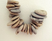 Genuine Drilled beach rocks - 25 SMALL ring shaped rocks stones pebbles