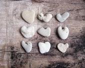 Christmas table decoration -9 Natural heart stones beach rocks pebbles