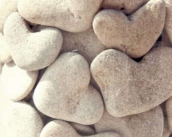 Natural Heart Rocks -  9 genuine natural heart shaped beach pebbles  - Unique Beach Wedding Decoration - Unique Home Decoration - Surfing S