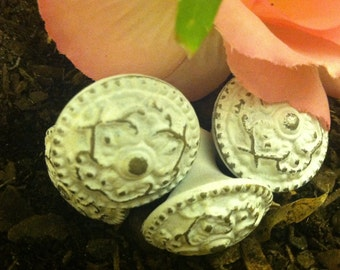 RESERVED Drawer Pulls/ Drawer Knobs/ White Satin Shabby Chic Knobs/ Set of 4 knobs