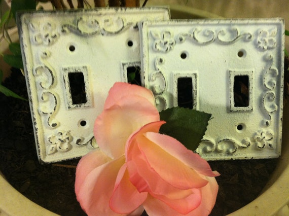 Switch Plates/ Light Plates/ Cast Iron Light Switch Plates/ Shabby Chic Plates - Set of Two