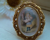 Alice in Wonderland Illustration Cameo Ring