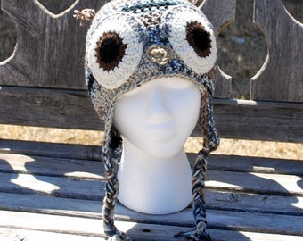 Shades of Grey and Brown Owl Earflap hat - Size nb and up