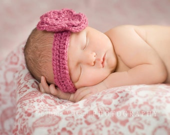 Baby Girl Headbands with flower - customizable sizes and colors