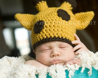 Crochet Giraffe Hat - Goldenrod and Coffee - Nb- Kids