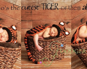Instant Download Crochet Pattern - No. 17 - Tiger- Cuddle Critter Cape Set  - Newborn Photography Prop