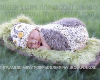 Owlette Owl Cuddle Critter Cape Set Brown and Cream Newborn Photography Prop