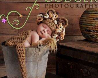 Loopy Lion- Cuddle Critter Cape Set  - Newborn Photography Prop