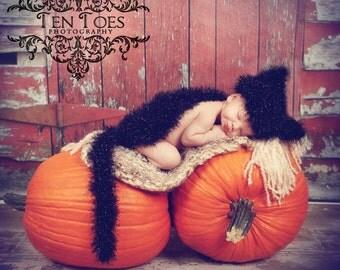 Black Kitty Cat Cuddle Critter Cape Set Newborn Photography Prop