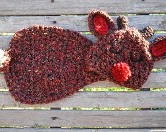 Instant Download Crochet Pattern - no 39 Reindeer- Cuddle Critter Cape Set  -Photography Prop