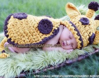 Instant Download Crochet Pattern - No. 11 -Goldie Giraffe- Cuddle Critter Cape Set  - Newborn Photography Prop