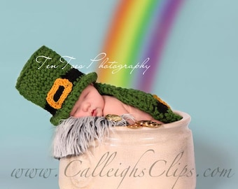 Instant Download Crochet Pattern - No. 53 - Luckiest Leprechaun- Cuddle Cape Set  - Newborn Photography Prop
