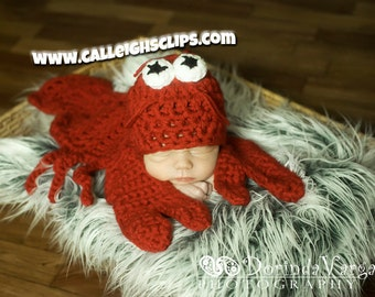 Instant Download Crochet Pattern No. 56 - Pinchy the Lobster Cuddle Critter Cape Set  - Newborn Prop