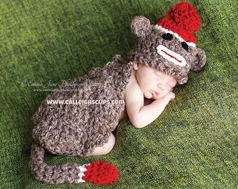 Sock Monkey Cuddle Critter Cape Set  Newborn Photography Prop