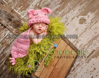 Instant Download Crochet Pattern - No. 24 Pink Piggy- Cuddle Critter Cape Set  - Newborn Photography Prop